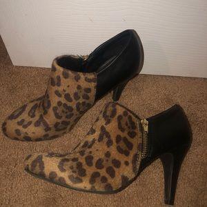 Leopard Print Bootie Heels